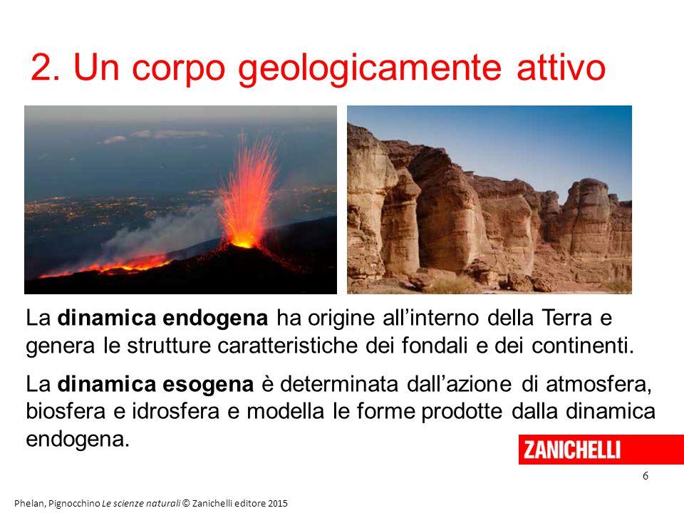 2. Un corpo geologicamente attivo 6 Phelan, Pignocchino Le scienze naturali © Zanichelli editore 2015 La dinamica endogena ha origine all'interno dell