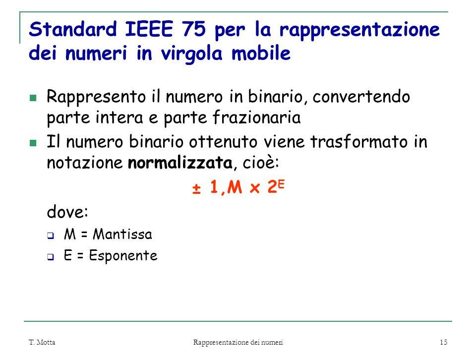 T. Motta Rappresentazione dei numeri 15 Standard IEEE 75 per la rappresentazione dei numeri in virgola mobile Rappresento il numero in binario, conver