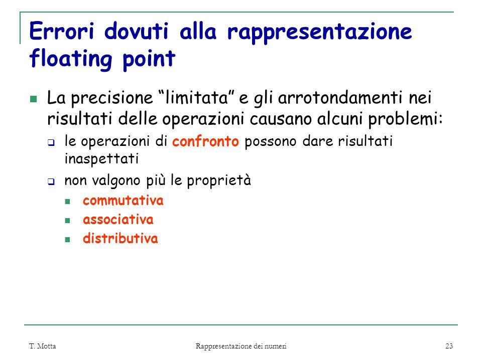 """T. Motta Rappresentazione dei numeri 23 Errori dovuti alla rappresentazione floating point La precisione """"limitata"""" e gli arrotondamenti nei risultati"""
