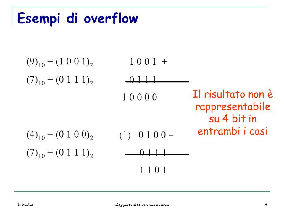 T. Motta Rappresentazione dei numeri 4 Esempi di overflow Il risultato non è rappresentabile su 4 bit in entrambi i casi
