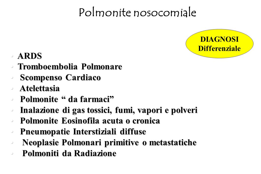 Polmonite nosocomiale ARDS ARDS Tromboembolia Polmonare Tromboembolia Polmonare Scompenso Cardiaco Scompenso Cardiaco Atelettasia Atelettasia Polmonit