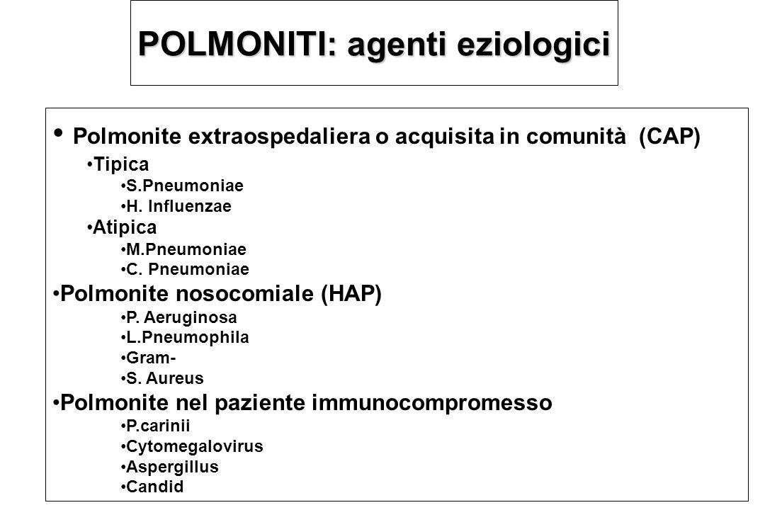 POLMONITI: agenti eziologici Polmonite extraospedaliera o acquisita in comunità (CAP) Tipica S.Pneumoniae H. Influenzae Atipica M.Pneumoniae C. Pneumo