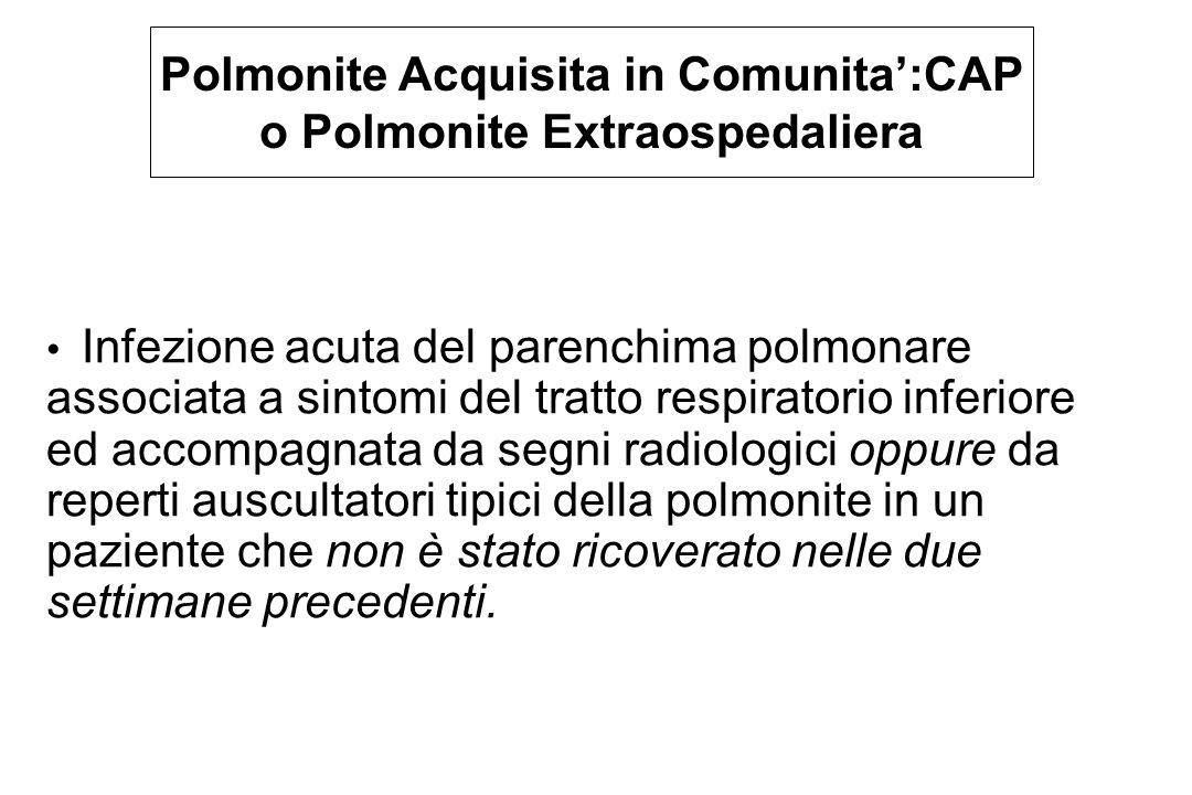 Polmonite Acquisita in Comunita':CAP o Polmonite Extraospedaliera Infezione acuta del parenchima polmonare associata a sintomi del tratto respiratorio