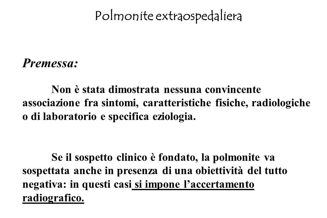 Polmonite extraospedaliera Premessa: Non è stata dimostrata nessuna convincente associazione fra sintomi, caratteristiche fisiche, radiologiche o di l
