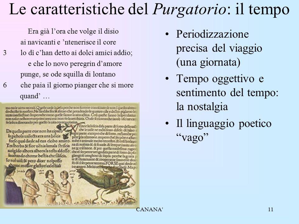 11 Le caratteristiche del Purgatorio: il tempo Era già l'ora che volge il disio ai navicanti e 'ntenerisce il core 3lo dì c'han detto ai dolci amici a
