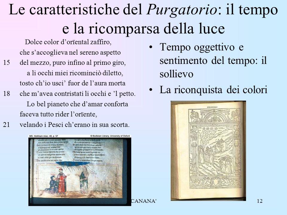 12 Le caratteristiche del Purgatorio: il tempo e la ricomparsa della luce Dolce color d'orïental zaffiro, che s'accoglieva nel sereno aspetto 15del me