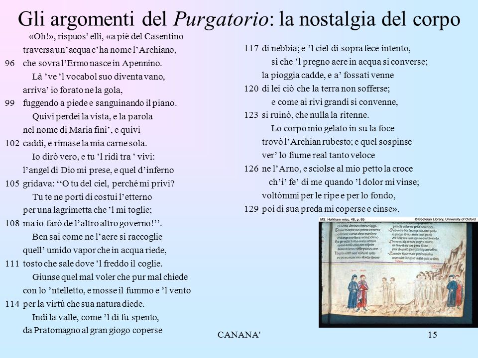 15 Gli argomenti del Purgatorio: la nostalgia del corpo «Oh!», rispuos' elli, «a piè del Casentino traversa un'acqua c'ha nome l'Archiano, 96che sovra