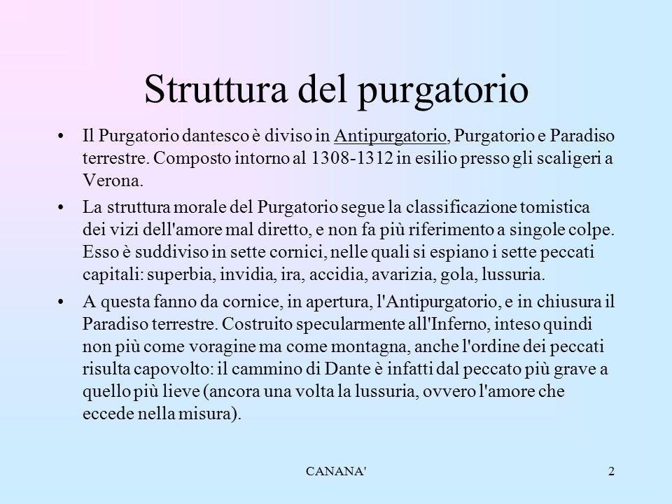 Struttura del purgatorio Il Purgatorio dantesco è diviso in Antipurgatorio, Purgatorio e Paradiso terrestre. Composto intorno al 1308-1312 in esilio p