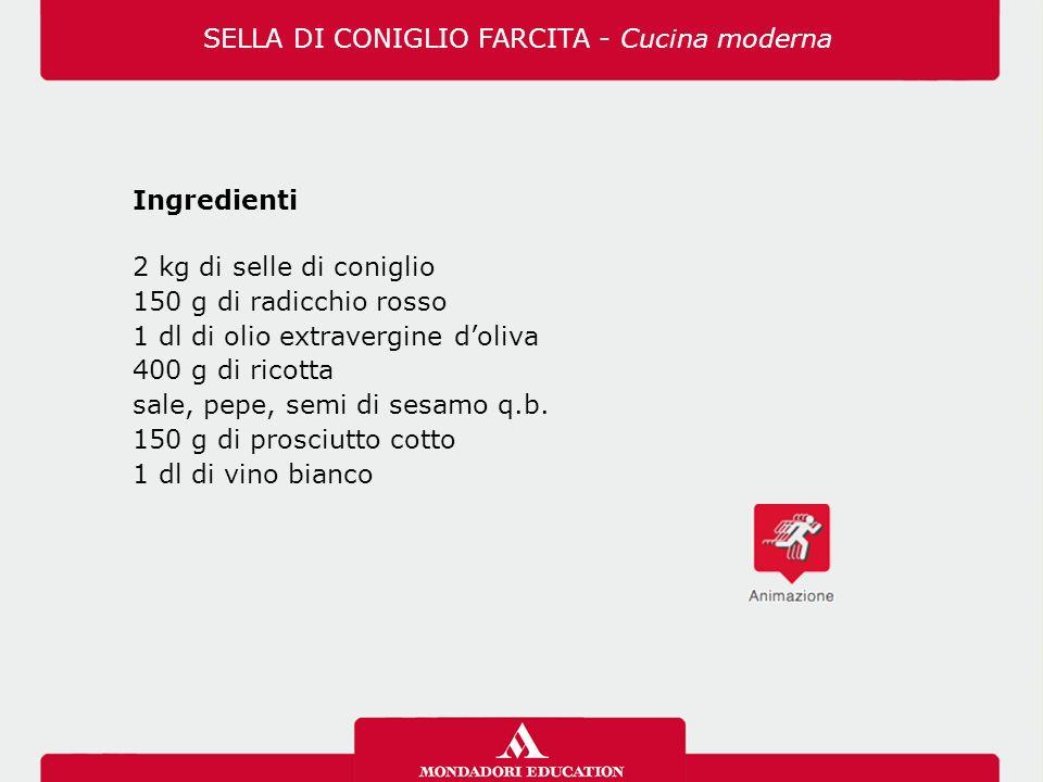 Ingredienti 2 kg di selle di coniglio 150 g di radicchio rosso 1 dl di olio extravergine d'oliva 400 g di ricotta sale, pepe, semi di sesamo q.b.