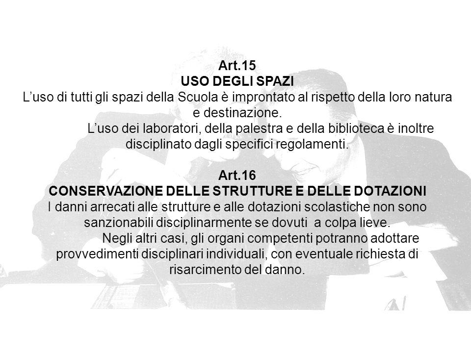 Art.15 USO DEGLI SPAZI L'uso di tutti gli spazi della Scuola è improntato al rispetto della loro natura e destinazione.