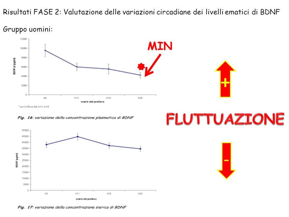 MIN + - Risultati FASE 2: Valutazione delle variazioni circadiane dei livelli ematici di BDNF Gruppo uomini: