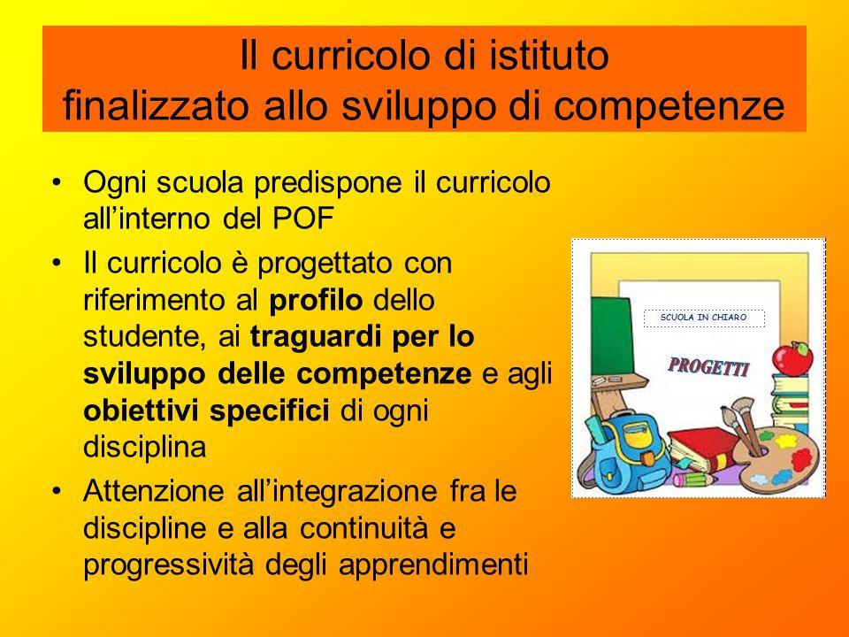 Il curricolo di istituto finalizzato allo sviluppo di competenze Ogni scuola predispone il curricolo all'interno del POF Il curricolo è progettato con