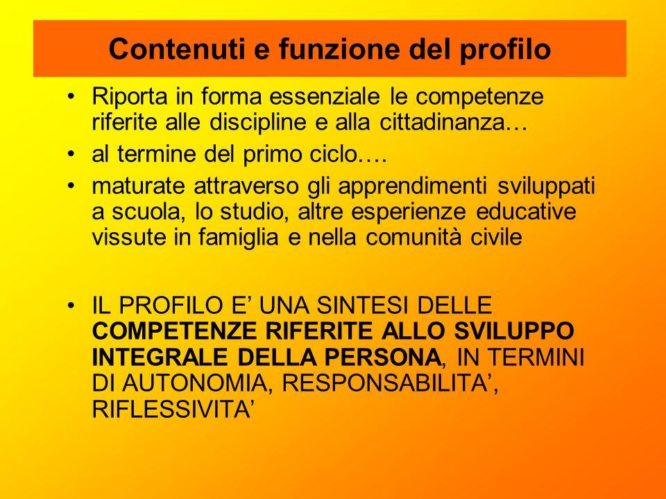 Contenuti e funzione del profilo Riporta in forma essenziale le competenze riferite alle discipline e alla cittadinanza… al termine del primo ciclo….