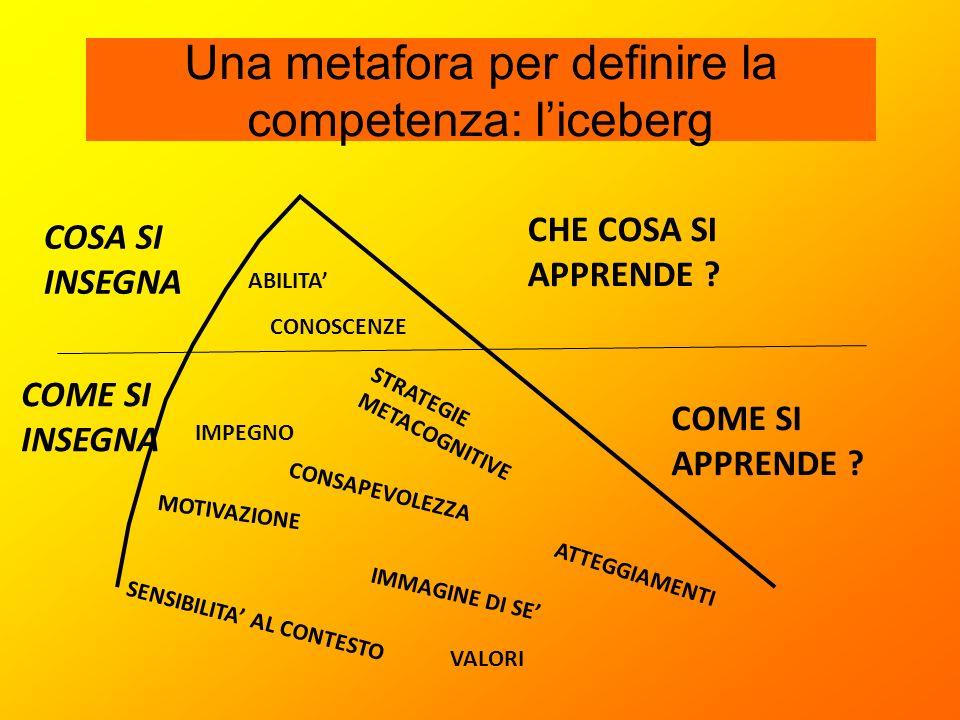 Una metafora per definire la competenza: l'iceberg ABILITA' CONOSCENZE IMPEGNO MOTIVAZIONE CONSAPEVOLEZZA STRATEGIE METACOGNITIVE IMMAGINE DI SE' SENS