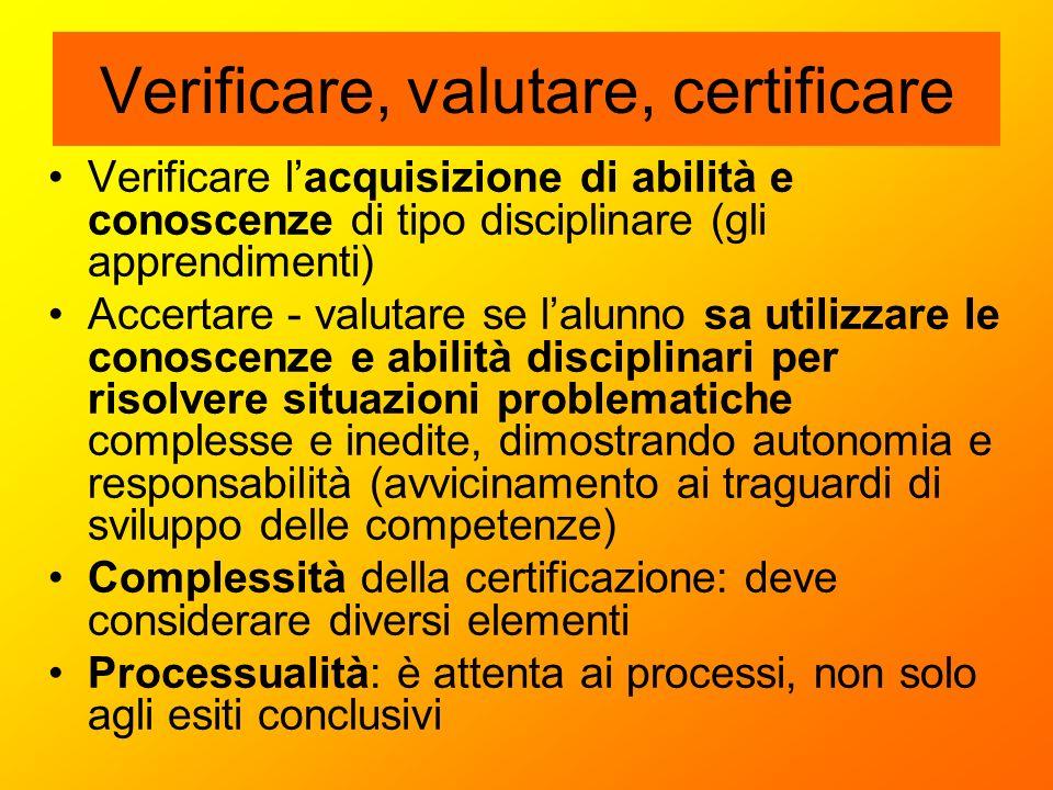 Verificare, valutare, certificare Verificare l'acquisizione di abilità e conoscenze di tipo disciplinare (gli apprendimenti) Accertare - valutare se l