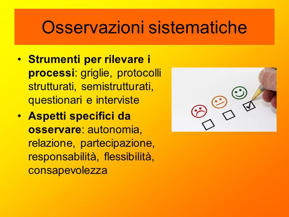 Osservazioni sistematiche Strumenti per rilevare i processi: griglie, protocolli strutturati, semistrutturati, questionari e interviste Aspetti specif