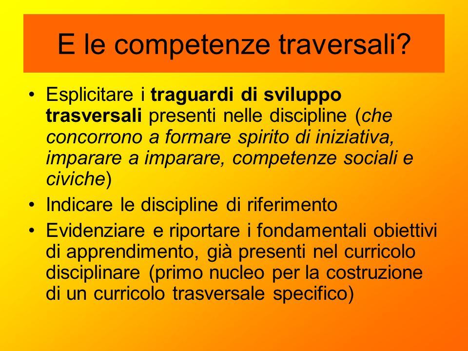E le competenze traversali? Esplicitare i traguardi di sviluppo trasversali presenti nelle discipline (che concorrono a formare spirito di iniziativa,
