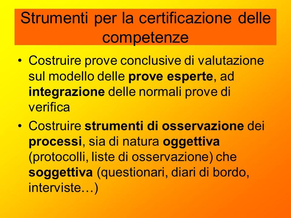 Strumenti per la certificazione delle competenze Costruire prove conclusive di valutazione sul modello delle prove esperte, ad integrazione delle norm