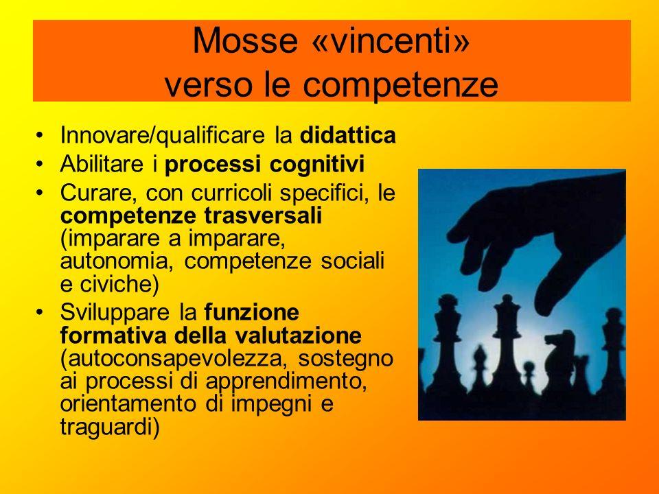 Mosse «vincenti» verso le competenze Innovare/qualificare la didattica Abilitare i processi cognitivi Curare, con curricoli specifici, le competenze t