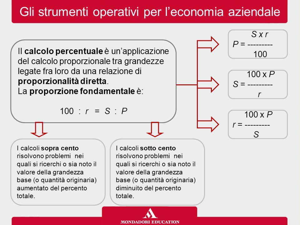 Gli strumenti operativi per l'economia aziendale Il calcolo percentuale è un'applicazione del calcolo proporzionale tra grandezze legate fra loro da u