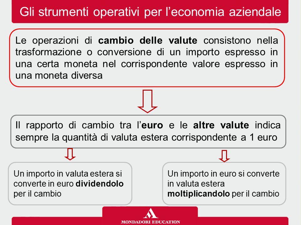 Gli strumenti operativi per l'economia aziendale Il rapporto di cambio tra l'euro e le altre valute indica sempre la quantità di valuta estera corrisp
