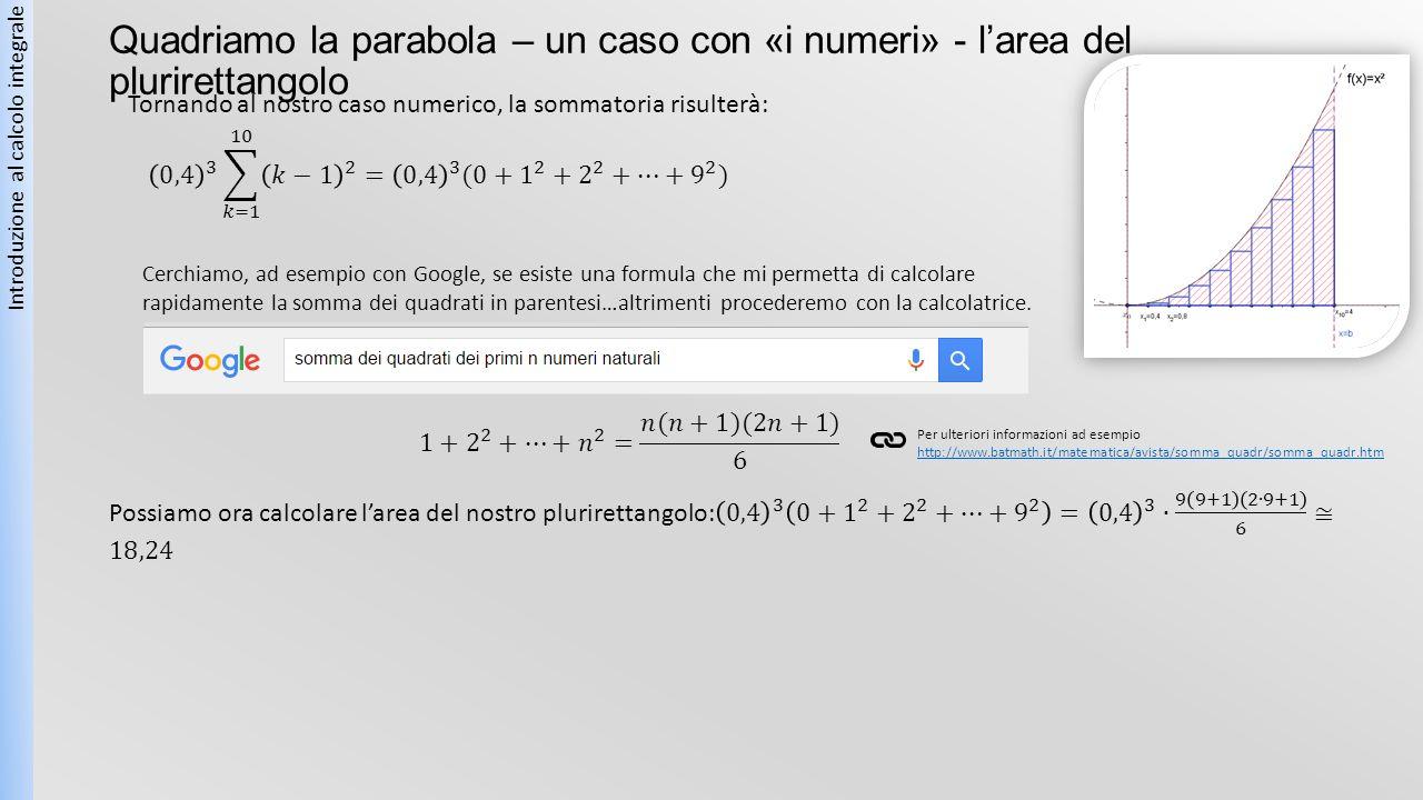 Quadriamo la parabola – un caso con «i numeri» - l'area del plurirettangolo Introduzione al calcolo integrale Tornando al nostro caso numerico, la som