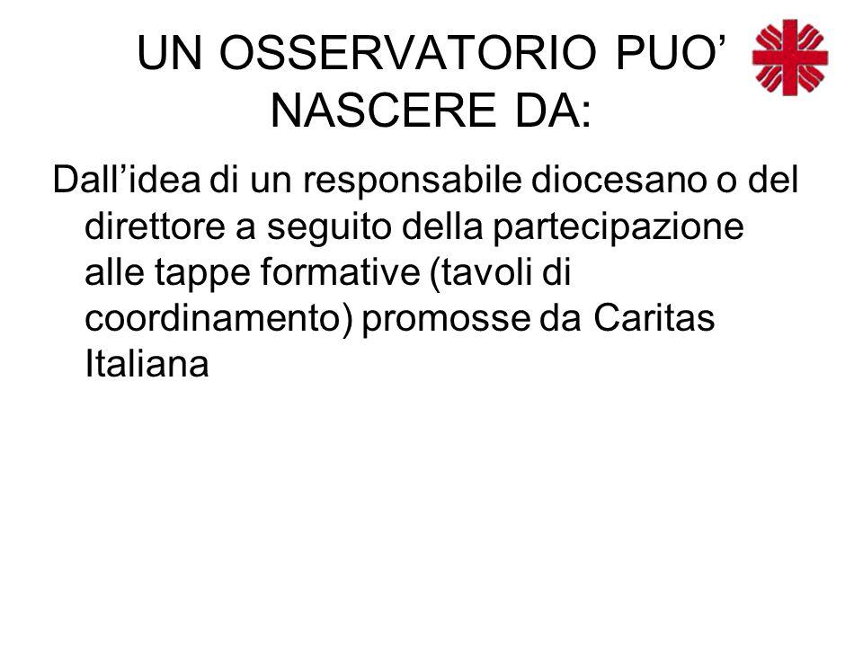 UN OSSERVATORIO PUO' NASCERE DA: Dall'idea di un responsabile diocesano o del direttore a seguito della partecipazione alle tappe formative (tavoli di coordinamento) promosse da Caritas Italiana
