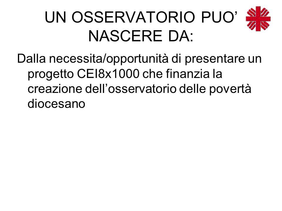 UN OSSERVATORIO PUO' NASCERE DA: Dalla necessita/opportunità di presentare un progetto CEI8x1000 che finanzia la creazione dell'osservatorio delle povertà diocesano
