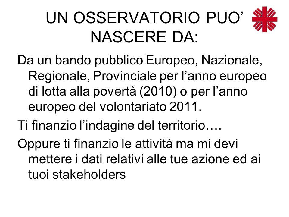 UN OSSERVATORIO PUO' NASCERE DA: Da un bando pubblico Europeo, Nazionale, Regionale, Provinciale per l'anno europeo di lotta alla povertà (2010) o per l'anno europeo del volontariato 2011.