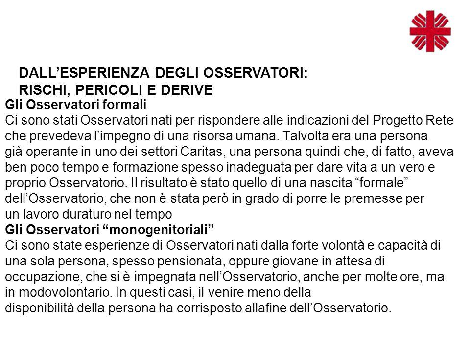 Gli Osservatori formali Ci sono stati Osservatori nati per rispondere alle indicazioni del Progetto Rete che prevedeva l'impegno di una risorsa umana.