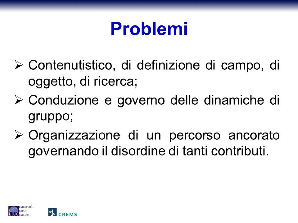  Contenutistico, di definizione di campo, di oggetto, di ricerca;  Conduzione e governo delle dinamiche di gruppo;  Organizzazione di un percorso ancorato governando il disordine di tanti contributi.