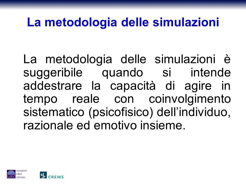 La metodologia delle simulazioni La metodologia delle simulazioni è suggeribile quando si intende addestrare la capacità di agire in tempo reale con coinvolgimento sistematico (psicofisico) dell'individuo, razionale ed emotivo insieme.