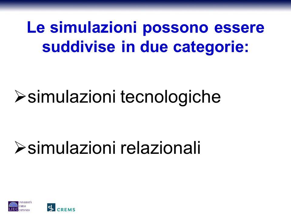 Le simulazioni possono essere suddivise in due categorie:  simulazioni tecnologiche  simulazioni relazionali