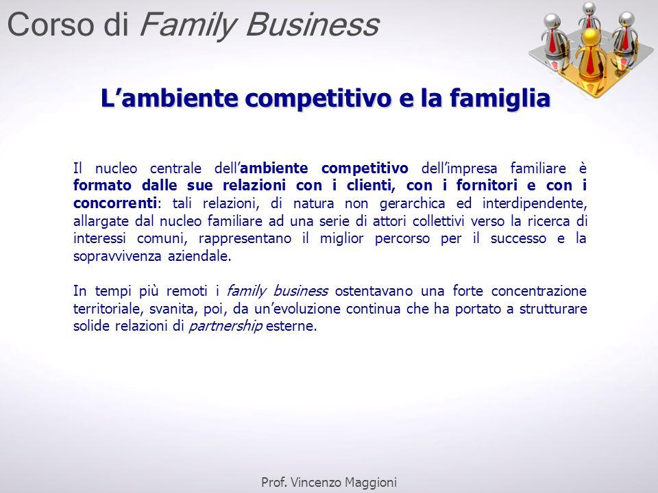 L'ambiente competitivo e la famiglia Il nucleo centrale dell'ambiente competitivo dell'impresa familiare è formato dalle sue relazioni con i clienti,