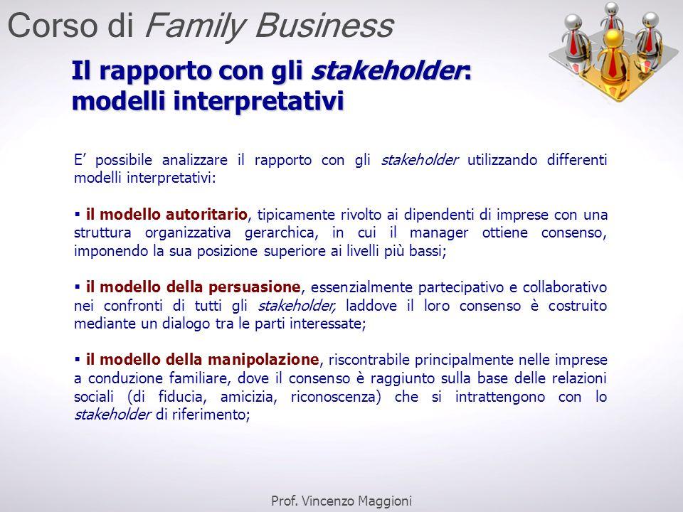 Il rapporto con gli stakeholder: modelli interpretativi E' possibile analizzare il rapporto con gli stakeholder utilizzando differenti modelli interpr