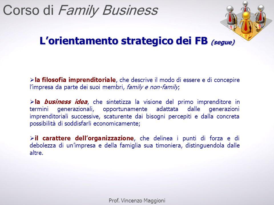 L'orientamento strategico dei FB (segue)  la filosofia imprenditoriale, che descrive il modo di essere e di concepire l'impresa da parte dei suoi mem