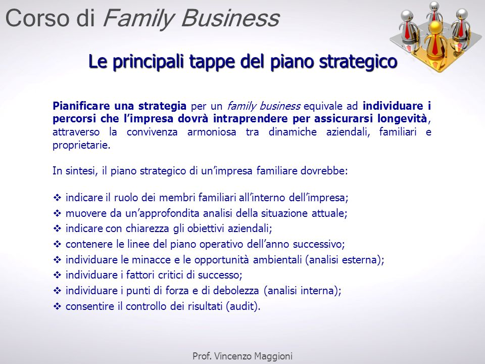 Le principali tappe del piano strategico Pianificare una strategia per un family business equivale ad individuare i percorsi che l'impresa dovrà intra