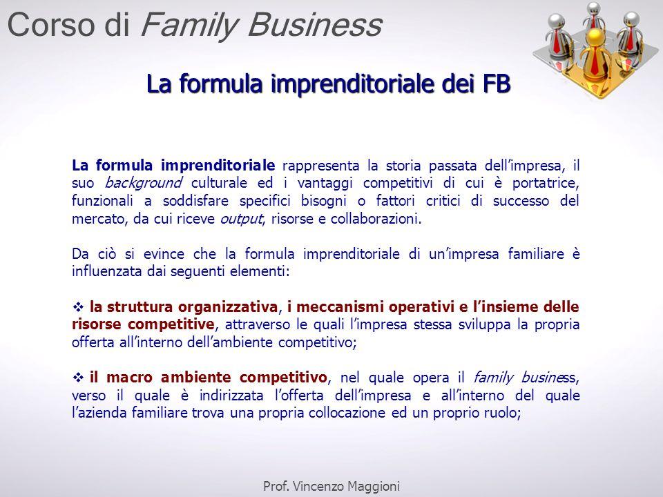 La formula imprenditoriale dei FB La formula imprenditoriale rappresenta la storia passata dell'impresa, il suo background culturale ed i vantaggi com