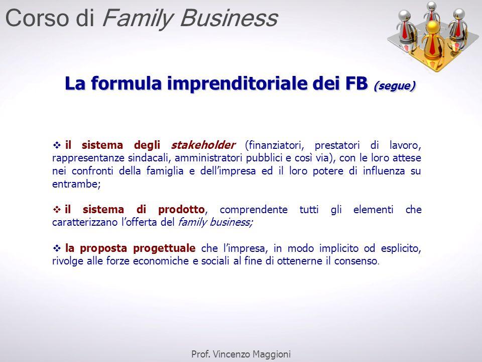 La formula imprenditoriale dei FB (segue)  il sistema degli stakeholder (finanziatori, prestatori di lavoro, rappresentanze sindacali, amministratori