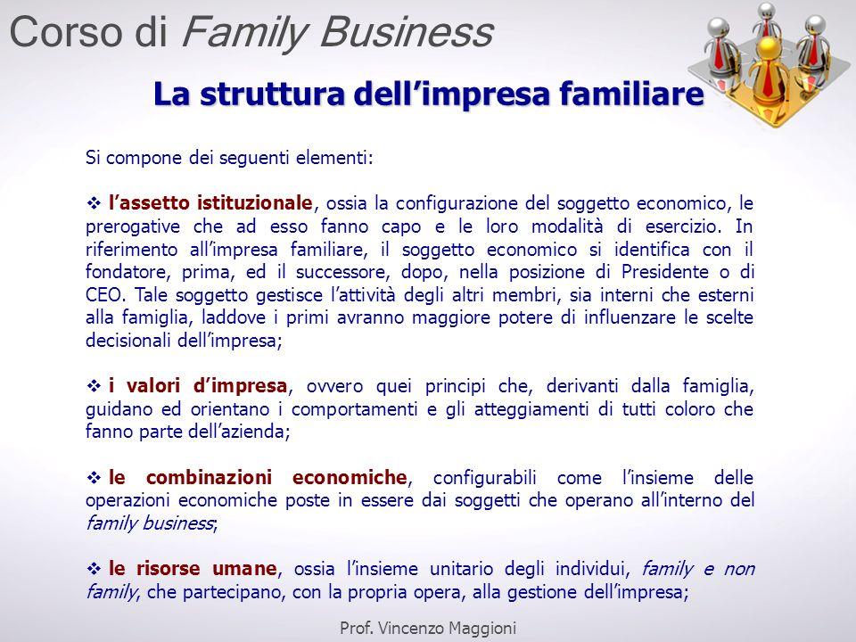 La struttura dell'impresa familiare Si compone dei seguenti elementi:  l'assetto istituzionale, ossia la configurazione del soggetto economico, le pr