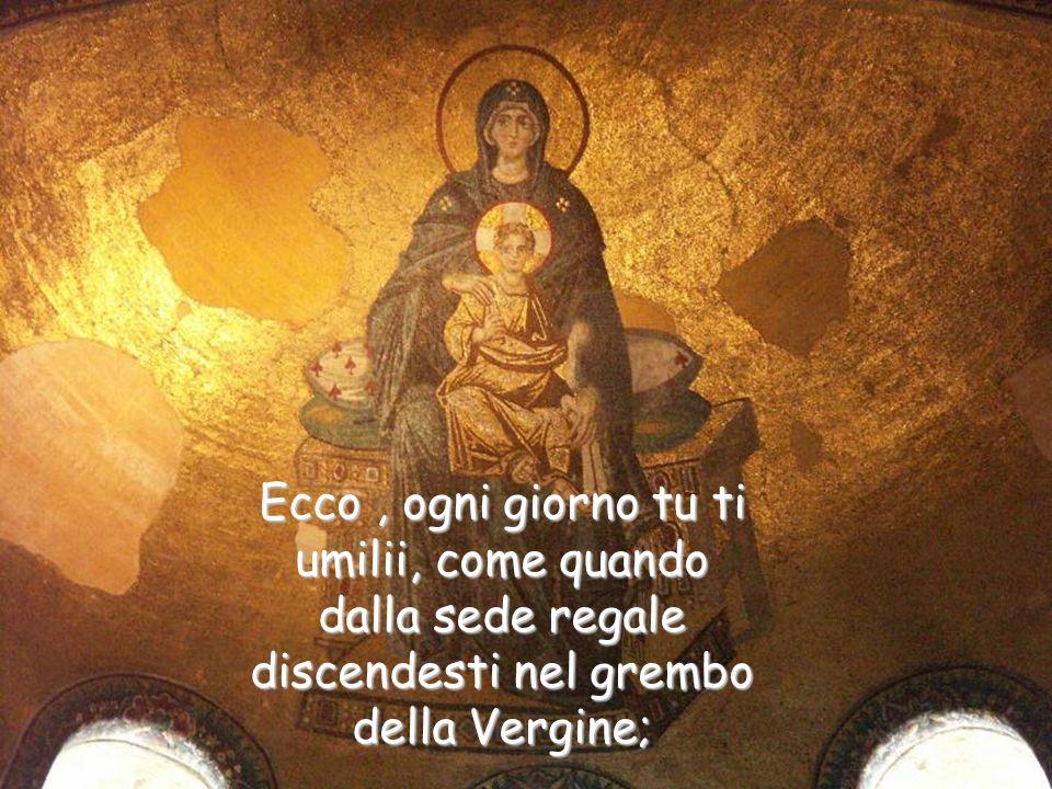 Ogni giorno vieni a noi in apparenza umile;ogni giorno discendi dal seno del Padre sopra l'altare nelle mani del sacerdote.