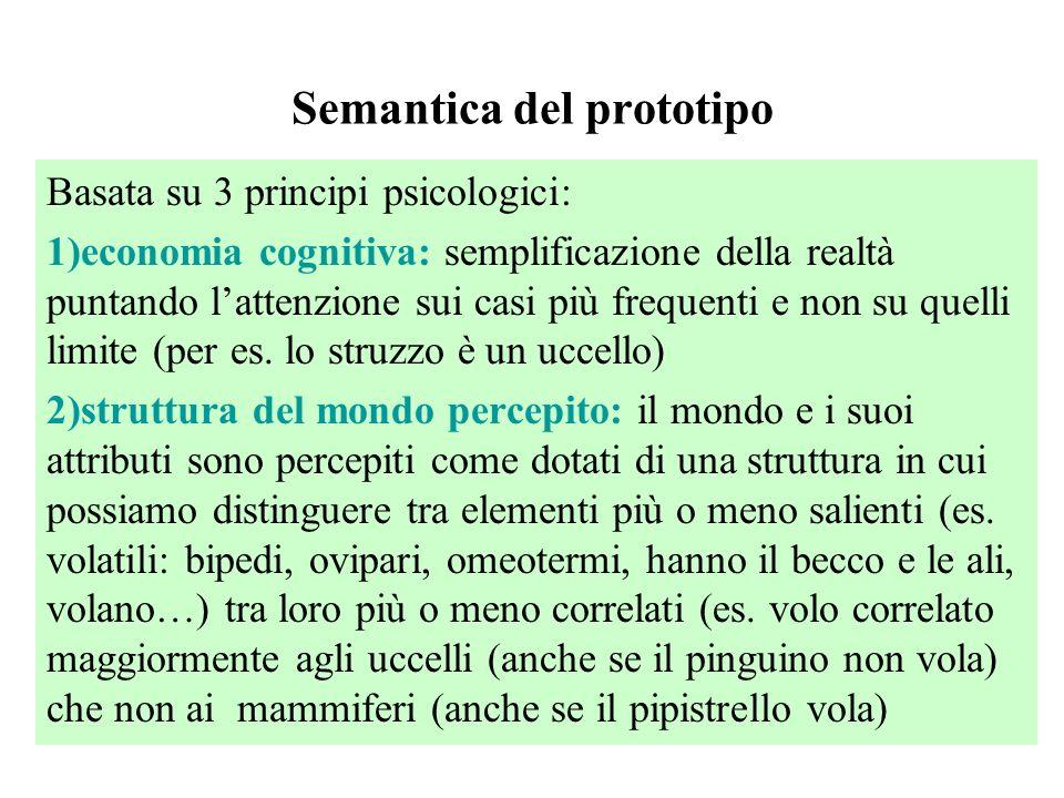 Semantica del prototipo Basata su 3 principi psicologici: 1)economia cognitiva: semplificazione della realtà puntando l'attenzione sui casi più freque
