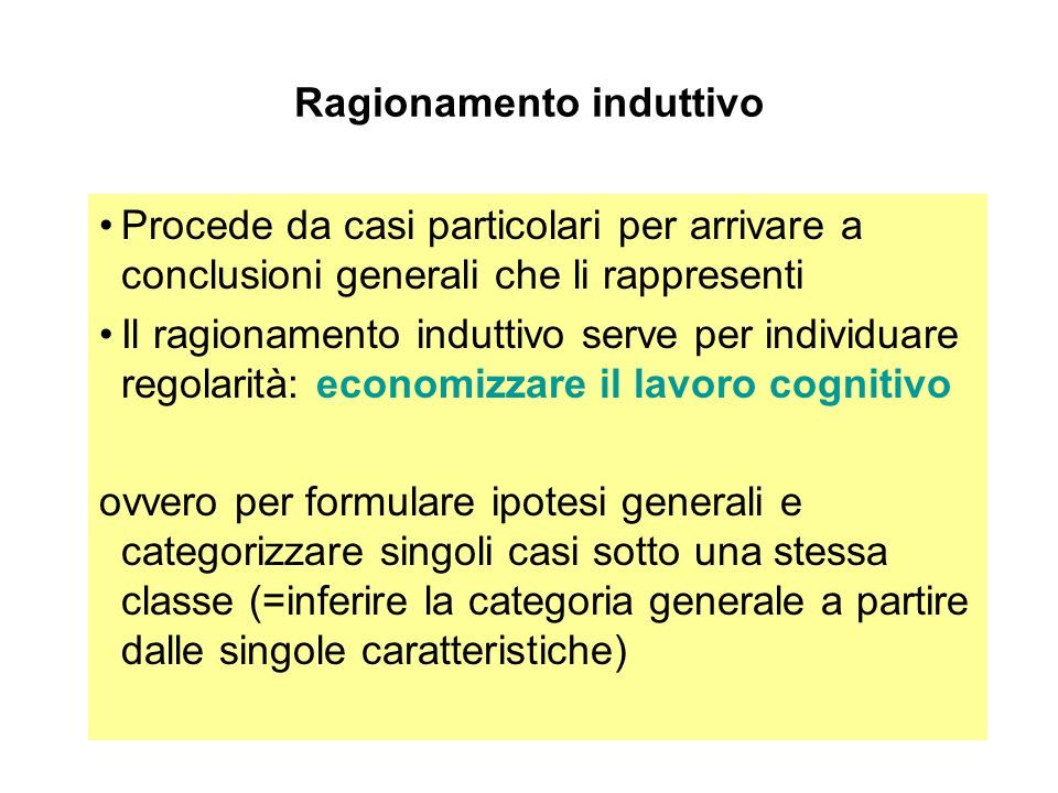 Ragionamento induttivo Procede da casi particolari per arrivare a conclusioni generali che li rappresenti Il ragionamento induttivo serve per individu