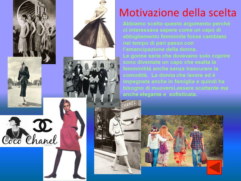 Motivazione della scelta Abbiamo scelto questo argomento perché ci interessava sapere come un capo di abbigliamento femminile fosse cambiato nel tempo