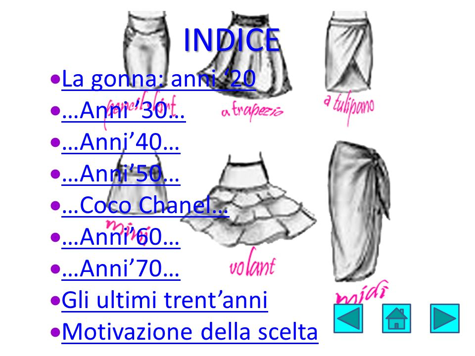 INDICE  La gonna: anni '20 La gonna: anni '20  …Anni '30… …Anni '30…  …Anni'40… …Anni'40…  …Anni'50… …Anni'50…  …Coco Chanel… …Coco Chanel…  …An