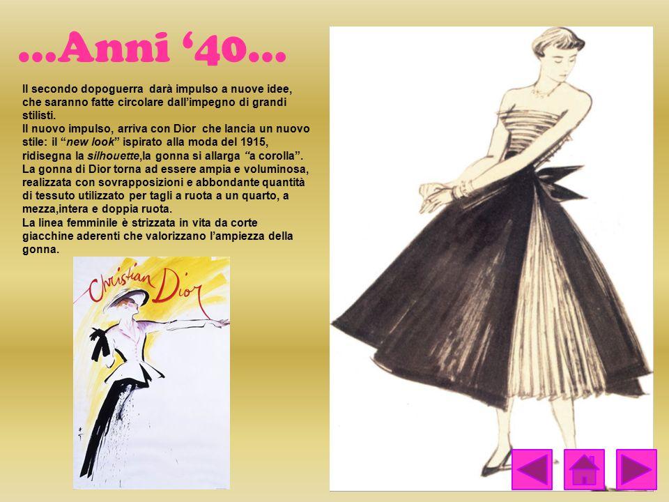…Anni '40… Il secondo dopoguerra darà impulso a nuove idee, che saranno fatte circolare dall'impegno di grandi stilisti. Il nuovo impulso, arriva con