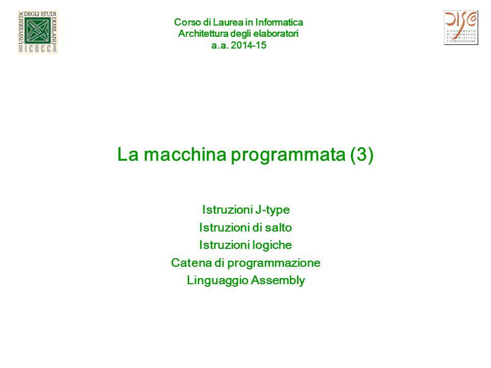 Istruzione R-Type (già vista) Se rs contiene inizialmente 64 (00000000000000000000000001000000) rt contiene inizialmente 4 (00000000000000000000000000000100) dopo l'esecuzione rd contiene 68 (00000000000000000000000001000100) Formato Assembly (prossime lezioni) Add $t2, $t0, $t1 (attenzione all'ordine degli operandi) A.A 2014-15ISA (3)2 6 bits5 bits 6 bits somma i contenuti del registro 8 e del registro 9 e metti il risultato nel registro 10 quello che si vuole fare (in italiano) numeri decimali (per comodità) 000000 op (operation code) operazione base 0 - 0 10 - 0x0 - 0 16 01000 rs primo registro sorgente 01001 rt secondo registro sorgente 01010 rd registro destinazione 00000 shamt shift 100000 funct variante della operazione 32 – 32 10 – 0x20 - 20 16