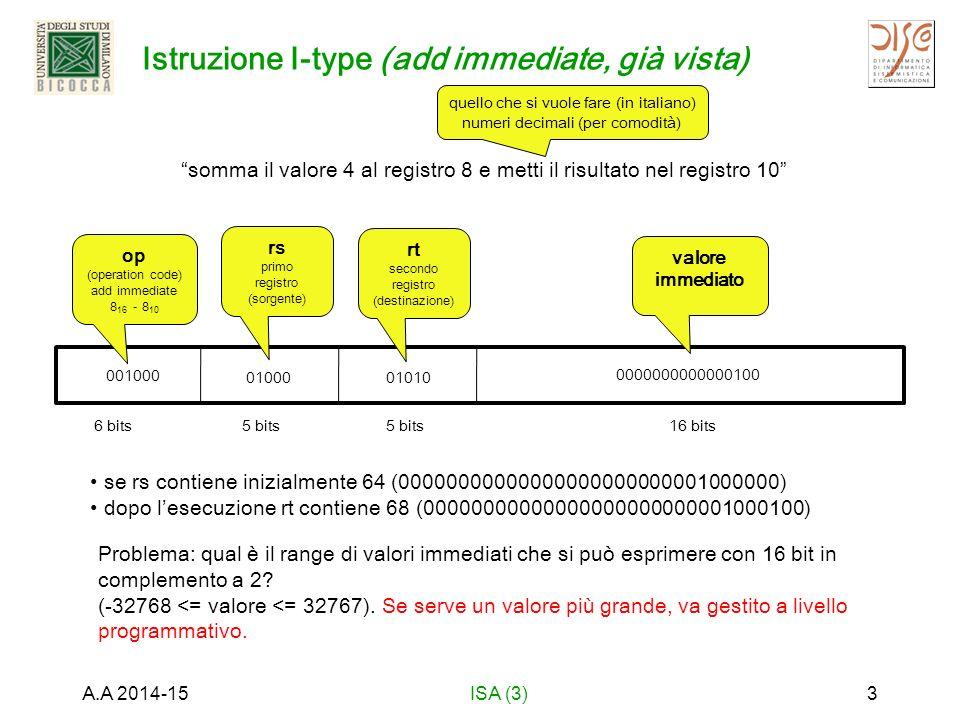 Istruzione I-type (add immediate, già vista) A.A 2014-15ISA (3)3 6 bits5 bits 16 bits somma il valore 4 al registro 8 e metti il risultato nel registro 10 quello che si vuole fare (in italiano) numeri decimali (per comodità) 001000 op (operation code) add immediate 8 16 - 8 10 01000 rs primo registro (sorgente) 01010 rt secondo registro (destinazione) 0000000000000100 valore immediato se rs contiene inizialmente 64 (00000000000000000000000001000000) dopo l'esecuzione rt contiene 68 (00000000000000000000000001000100) Problema: qual è il range di valori immediati che si può esprimere con 16 bit in complemento a 2.