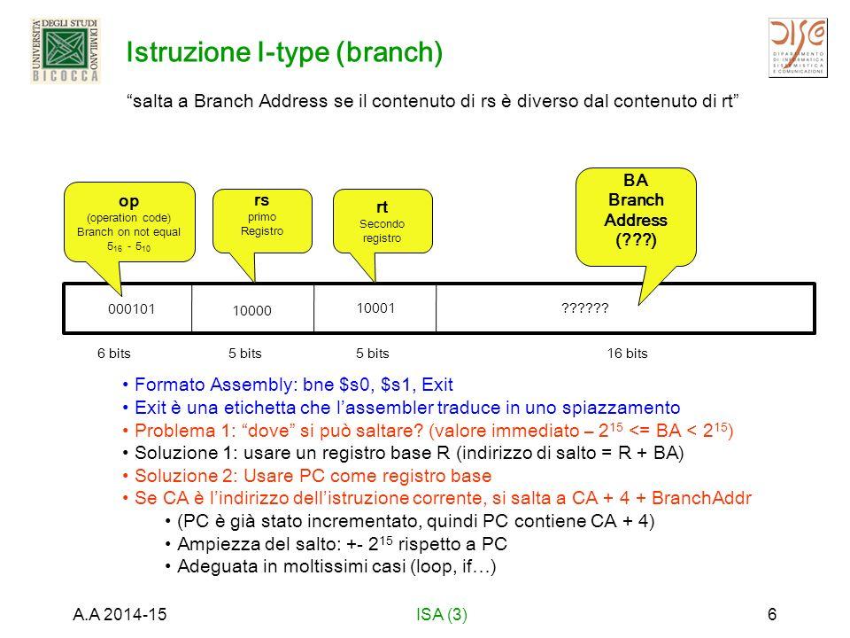 Istruzione R-Type (shift left) Se rt contiene inizialmente 9 (0000 0000 0000 0000 0000 0000 1001) (= 9 16 ) dopo l'esecuzione rd contiene 144 (0000 0000 0000 0000 0000 0000 1001 0000) (= 90 16 ) A.A 2014-15ISA (3)7 6 bits5 bits 6 bits shift di 4 bit a sinistra i contenuti del registro 16 e metti il risultato nel registro 10 quello che si vuole fare (in italiano) numeri decimali (per comodità) 000000 op (operation code) operazione base 0 - 0 10 - 0x0 - 0 16 10000 rt registro sorgente 16 -10 16 01010 rd registro destinazione 10 – a 16 00100 shamt Shift amount 4 000000 funct variante della operazione 00000