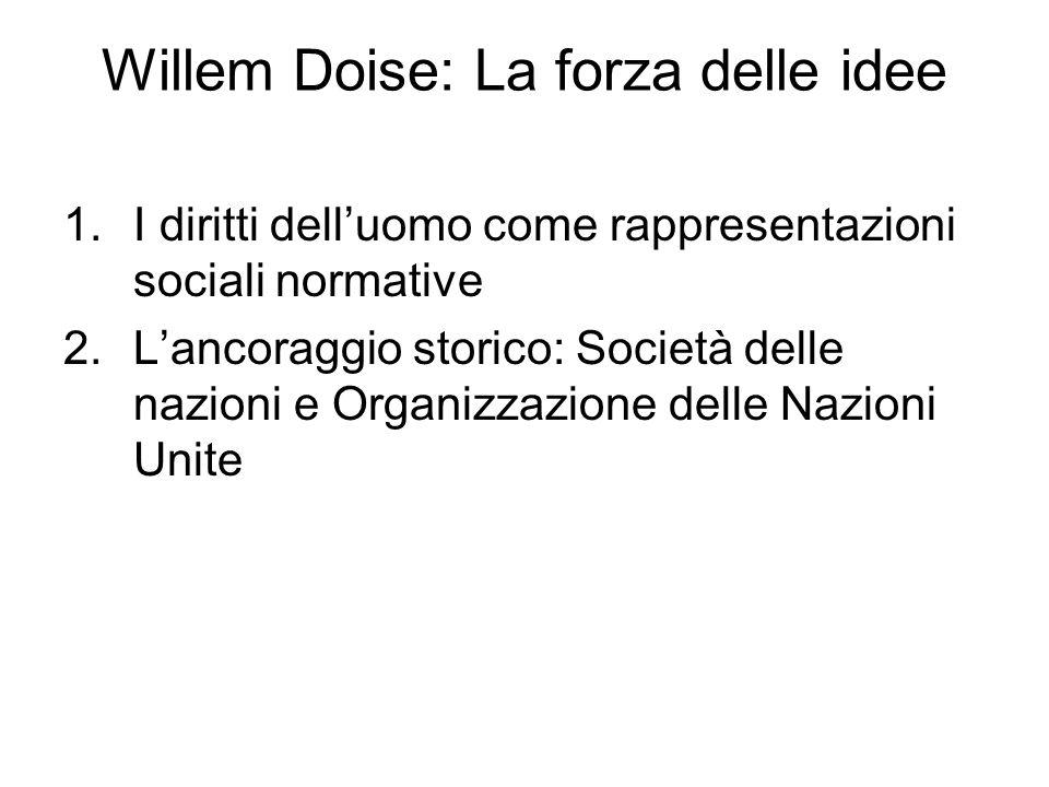 Willem Doise: La forza delle idee 1.I diritti dell'uomo come rappresentazioni sociali normative 2.L'ancoraggio storico: Società delle nazioni e Organizzazione delle Nazioni Unite